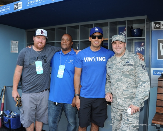 Los Angeles Dodgers Military Hero of the Game U.S. Air Force Sgt, William Powell poses with friends prior to game against the San Francisco Giants Thursday, August 25, 2016 at Dodger Stadium in Los Angeles,California. Photo by Jon SooHoo/©Los Angeles Dodgers,LLC 2016