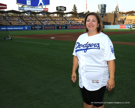 Congresswoman Linda Sanchez prior to throwing out the ceremonial first pitch Thursday, August 25, 2016 at Dodger Stadium in Los Angeles,California. Photo by Jon SooHoo/©Los Angeles Dodgers,LLC 2016
