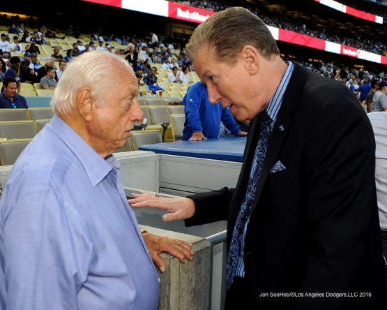 Tommy Lasorda and Orel Hershiser talk prior to game against the San Francisco Giants Thursday, August 25, 2016 at Dodger Stadium in Los Angeles,California. Photo by Jon SooHoo/©Los Angeles Dodgers,LLC 2016