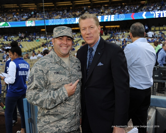 Great Los Angeles Dodger fan with Orel Hershiser prior to  game against the San Francisco Giants Thursday, August 25, 2016 at Dodger Stadium in Los Angeles,California. Photo by Jon SooHoo/©Los Angeles Dodgers,LLC 2016