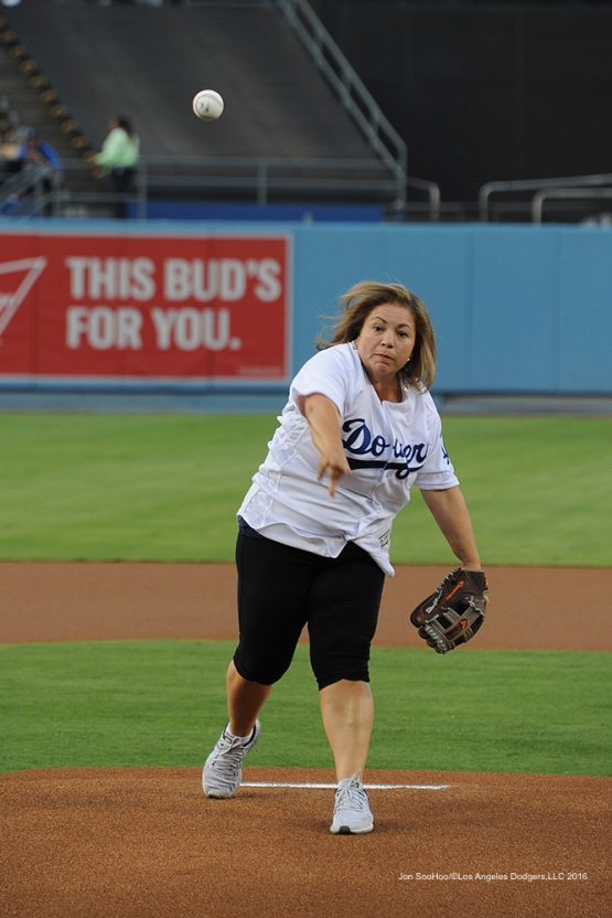 Congresswoman Linda Sanchez throwing out the ceremonial first pitch Thursday, August 25, 2016 at Dodger Stadium in Los Angeles,California. Photo by Jon SooHoo/©Los Angeles Dodgers,LLC 2016