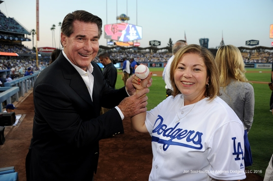 Steve Garvey poses with Congresswoman Linda Sanchez prior to game against the San Francisco Giants Thursday, August 25, 2016 at Dodger Stadium in Los Angeles,California. Photo by Jon SooHoo/©Los Angeles Dodgers,LLC 2016