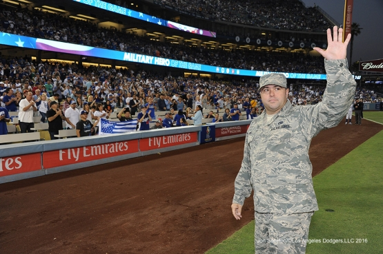 Los Angeles Dodgers Military Hero of the Game U.S. Air Force Sgt, William Powell poses prior to game against the San Francisco Giants Thursday, August 25, 2016 at Dodger Stadium in Los Angeles,California. Photo by Jon SooHoo/©Los Angeles Dodgers,LLC 2016