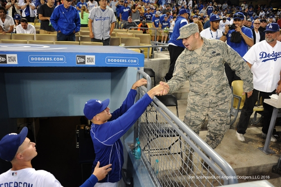 Los Angeles Dodgers Military Hero of the Game U.S. Air Force Sgt, William Powell with Trayce Thompson  during  game against the San Francisco Giants Thursday, August 25, 2016 at Dodger Stadium in Los Angeles,California. Photo by Jon SooHoo/©Los Angeles Dodgers,LLC 2016