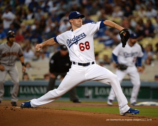 Los Angeles Dodgers Ross Stripling during game against the San Francisco Giants Thursday, August 25, 2016 at Dodger Stadium in Los Angeles,California. Photo by Jon SooHoo/©Los Angeles Dodgers,LLC 2016