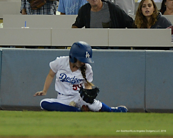 Los Angeles Dodgers Ball Girl makes play during game against the San Francisco Giants Thursday, August 25, 2016 at Dodger Stadium in Los Angeles,California. Photo by Jon SooHoo/©Los Angeles Dodgers,LLC 2016