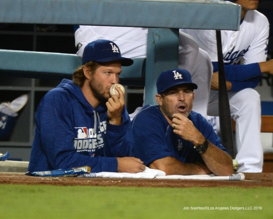 Clayton Kershaw and Turner Ward during game against the San Francisco Giants Thursday, August 25, 2016 at Dodger Stadium in Los Angeles,California. Photo by Jon SooHoo/©Los Angeles Dodgers,LLC 2016