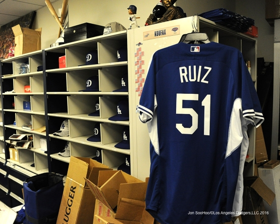 Uniform of Carlos Ruiz after game against the San Francisco Giants Thursday, August 25, 2016 at Dodger Stadium in Los Angeles,California. Photo by Jon SooHoo/©Los Angeles Dodgers,LLC 2016