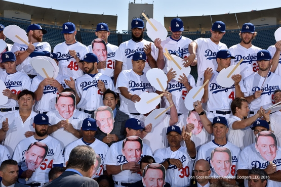 Los Angeles Dodgers honor Vin Scully during the annual team photo Friday, August 26 2016 at Dodger Stadium in Los Angeles,California. Photo by Jon SooHoo/©Los Angeles Dodgers,LLC 2016