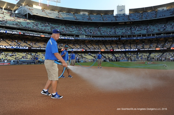 That look of head groundskeeper Eric Hansen Friday, August 26 2016 at Dodger Stadium in Los Angeles,California. Pho,to by Jon SooHoo/©Los Angeles Dodgers,LLC 2016