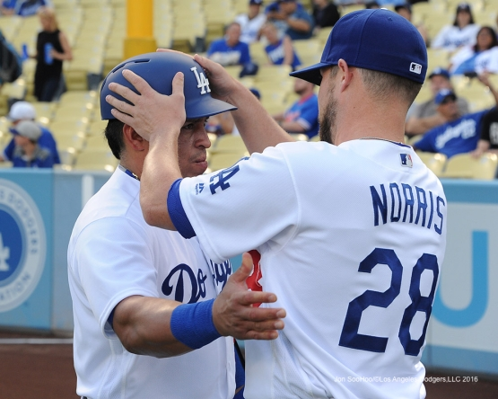 Carlos Ruiz and Bud Norris prior to  game against the Chicago Cubs Friday, August 26 2016 at Dodger Stadium in Los Angeles,California. Pho,to by Jon SooHoo/©Los Angeles Dodgers,LLC 2016