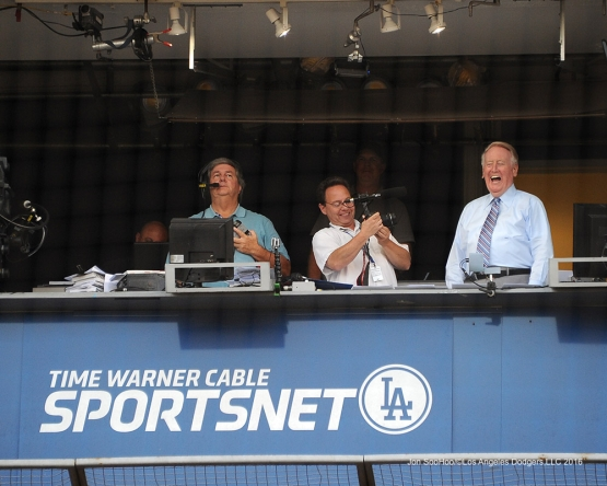 Vin Scully prior to game against the Chicago Cubs Friday, August 26 2016 at Dodger Stadium in Los Angeles,California. Pho,to by Jon SooHoo/©Los Angeles Dodgers,LLC 2016