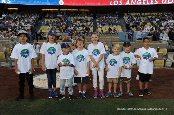 Kids Taking the Field prior to game against the Chicago Cubs Friday, August 26 2016 at Dodger Stadium in Los Angeles,California. Pho,to by Jon SooHoo/©Los Angeles Dodgers,LLC 2016