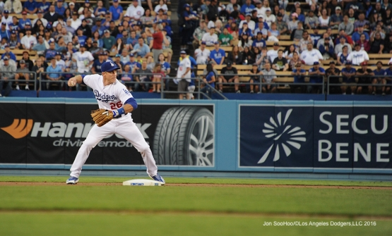Chase Utley throws to first during game against the Chicago Cubs Friday, August 26 2016 at Dodger Stadium in Los Angeles,California. Pho,to by Jon SooHoo/©Los Angeles Dodgers,LLC 2016