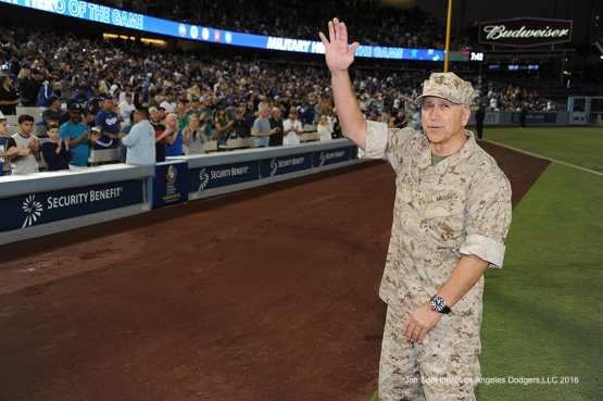 Los Angeles Dodgers Military Hero of the Game Pastor Raul Rites is honored during game against the Chicago Cubs Friday, August 26 2016 at Dodger Stadium in Los Angeles,California. Pho,to by Jon SooHoo/©Los Angeles Dodgers,LLC 2016