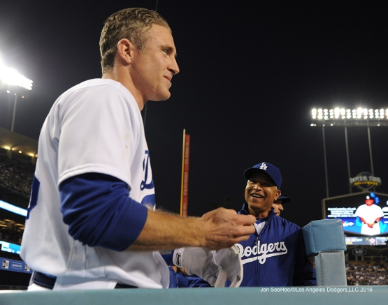 Dave Roberts and Chase Utley during game against the Chicago Cubs Friday, August 26 2016 at Dodger Stadium in Los Angeles,California. Pho,to by Jon SooHoo/©Los Angeles Dodgers,LLC 2016