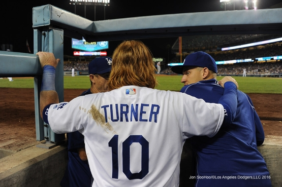 Justin Turner with Turner Ward and Trayce Thompson during game against the Chicago Cubs Friday, August 26 2016 at Dodger Stadium in Los Angeles,California. Pho,to by Jon SooHoo/©Los Angeles Dodgers,LLC 2016