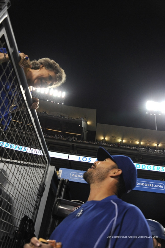 Andre Ethier talks with Sherri Patton talk during game against the Chicago Cubs Friday, August 26 2016 at Dodger Stadium in Los Angeles,California. Pho,to by Jon SooHoo/©Los Angeles Dodgers,LLC 2016