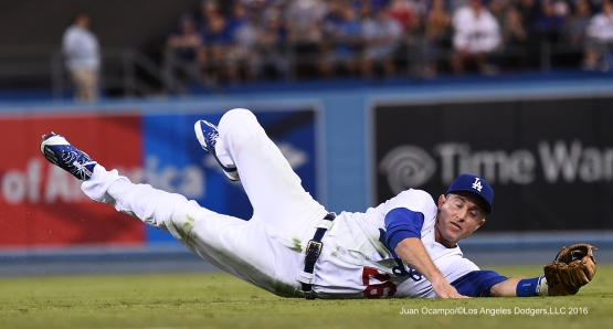 Los Angeles Dodgers Chase Utley makes play Friday, August 26 2016 at Dodger Stadium in Los Angeles,California. Photo by Juan Ocampo/©Los Angeles Dodgers,LLC 2016