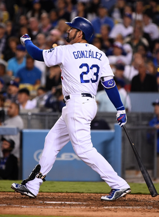 Adrian Gonzalez homers Friday, August 26 2016 at Dodger Stadium in Los Angeles,California. Photo by Juan Ocampo/©Los Angeles Dodgers,LLC 2016