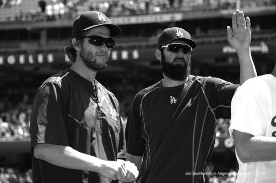 Clayton Kershaw and Scott Van Slyke prior to game against the Chicago Cubs Sunday, August 28, 2016 at Dodger Stadium in Los Angeles,California. Photo by Jon SooHoo/©Los Angeles Dodgers,LLC 2016