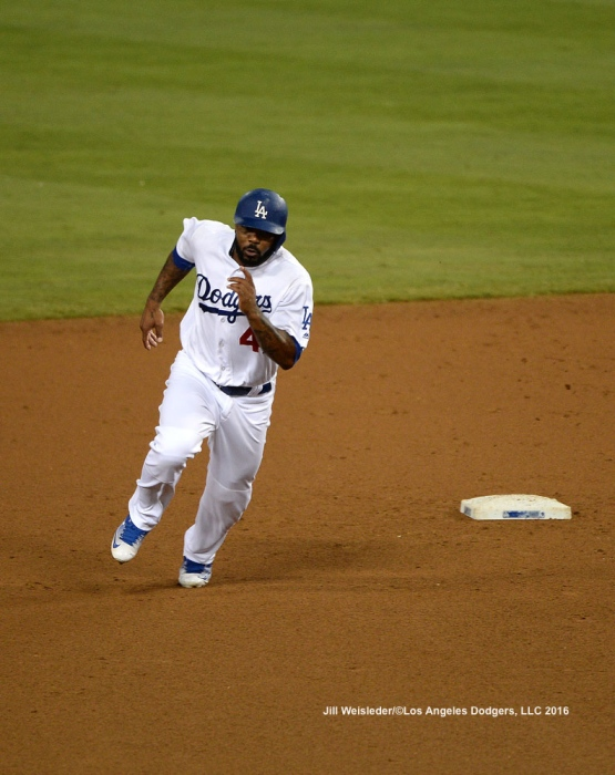 Howie Kendrick in action rounds second base. Jill Weisleder/Dodgers