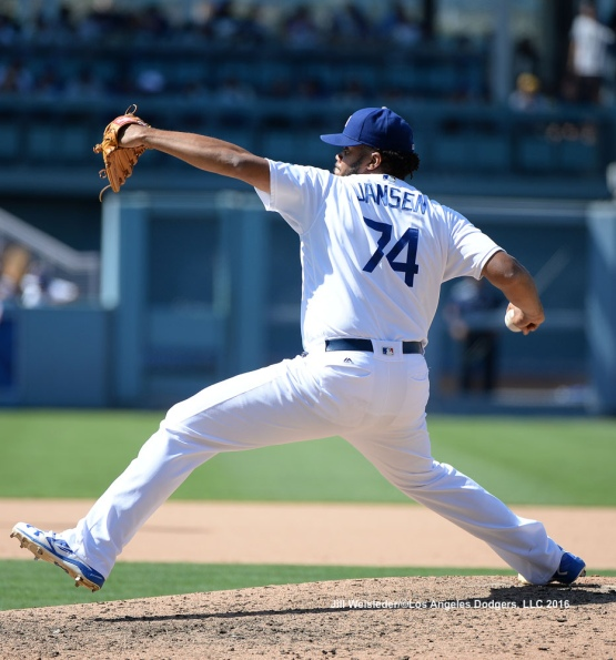 Kenley Jansen comes in to pitch in the ninth inning. Jill Weisleder/Dodgers