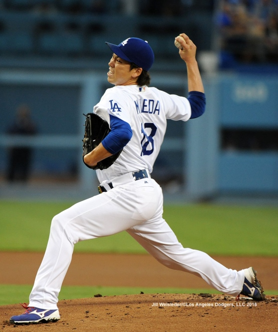 Kenta Maeda throws on the mound against the San Francisco Giants . Jill Weisleder/Dodgers