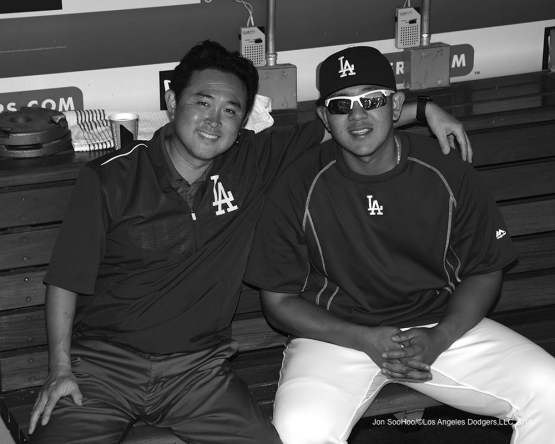 Possum Nakajima and Julio Urias during game against the Chicago Cubs Sunday, August 28, 2016 at Dodger Stadium in Los Angeles,California. Photo by Jon SooHoo/©Los Angeles Dodgers,LLC 2016