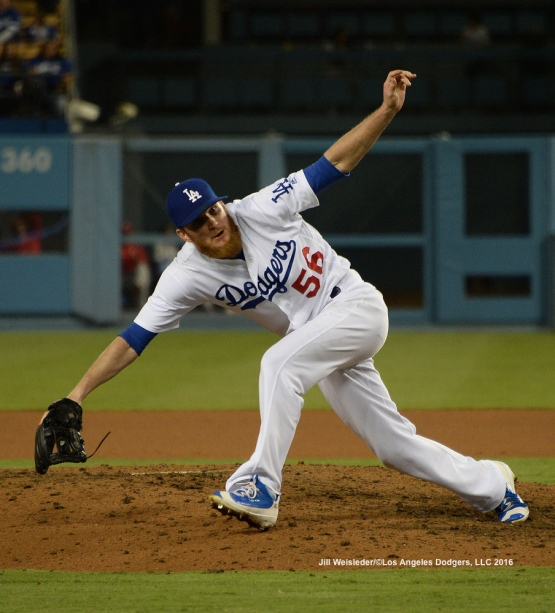 J.P. Howell delivers a pitch on the mound in the ninth inning. Jill Weisleder/Dodgers