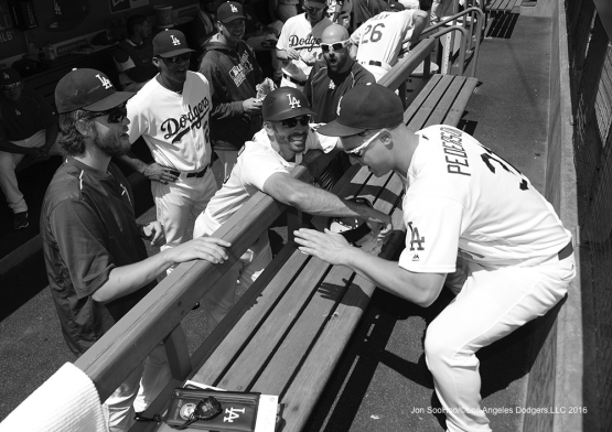 Los Angeles Dodgers prior to game against the Chicago Cubs Sunday, August 28, 2016 at Dodger Stadium in Los Angeles,California. Photo by Jon SooHoo/©Los Angeles Dodgers,LLC 2016