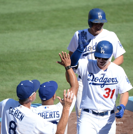 Joc Pederson and Corey Seager come in to score. Jill Weisleder/Dodgers
