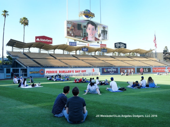 Fans were able to enjoy Movie Night after the game at Dodger Stadium with a showing of Ferris Bueller's Day Off. Jill Weisleder/Dodgers