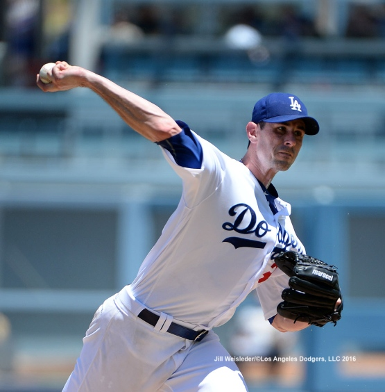 Pitcher Brandon McCarthy pitched made the start for the Dodgers but left in the second inning with right hip stiffness. Jill Weisleder/Dodgers