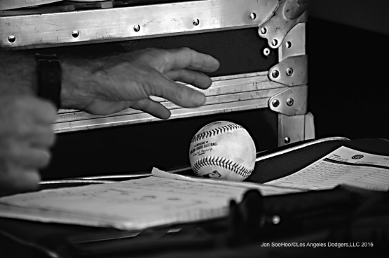 Brock Stewart's first major league hit ball getting authenticated during game against  the Chicago Cubs Sunday, August 28, 2016 at Dodger Stadium in Los Angeles,California. Photo by Jon SooHoo/©Los Angeles Dodgers,LLC 2016