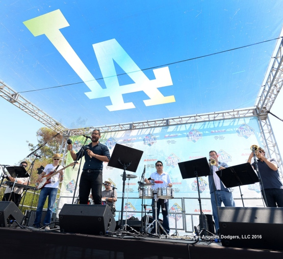 Music entertainment was provided at Viva Los Dodgers for the fans to enjoy prior to the start of the game. Jill Weisleder/Dodgers