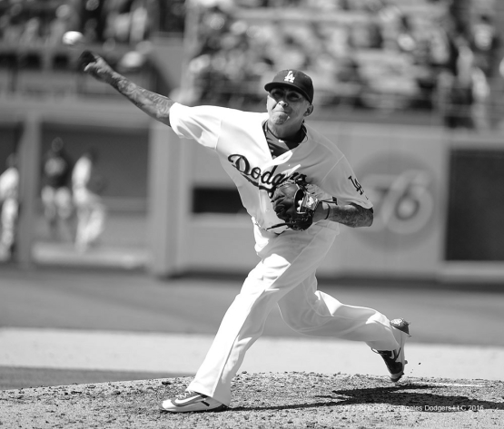 Jesse Chavez pitches against the Chicago Cubs Sunday, August 28, 2016 at Dodger Stadium in Los Angeles,California. Photo by Jon SooHoo/©Los Angeles Dodgers,LLC 2016