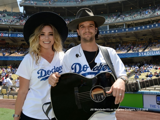 BC Jean and Mark Ballas pose for a photo after performing the National Anthem. Jill Weisleder/Dodgers