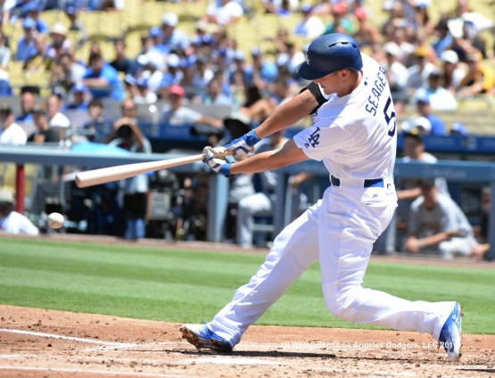 Corey Seager grounds into a double play and allowing Chase Utley to score. Jill Weisleder/Dodgers