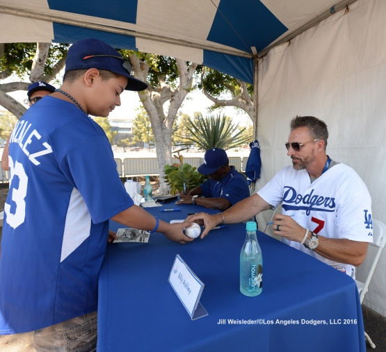 Dodger alumni Billy Ashley and Manny Mota were on hand to sign autographs for fans at Viva Los Dodgers. Jill Weisleder/Dodgers