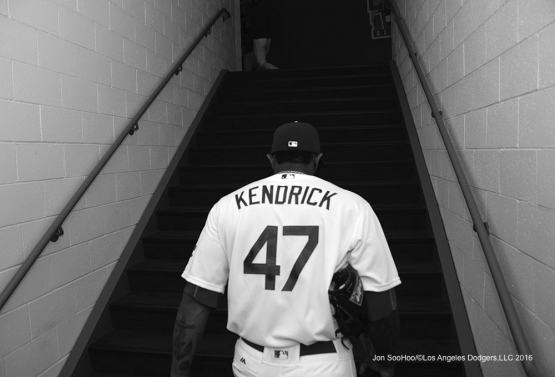 Howie Kendrick takes the stairs after Los Angeles Dodgers beat the Chicago Cubs 1-0 Sunday, August 28, 2016 at Dodger Stadium in Los Angeles,California. Photo by Jon SooHoo/©Los Angeles Dodgers,LLC 2016