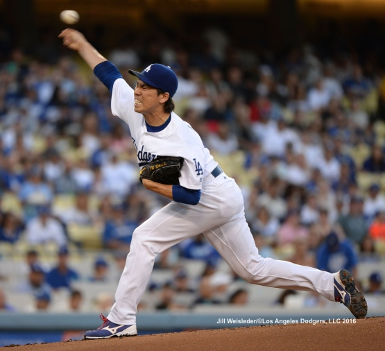 Starting pitcher Kenta Maeda throws on the mound against the Philadelphia Phillies. Jill Weisleder/Dodgers