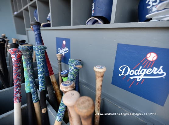 Bats are in place in the Dodger dugout. Jill Weisleder/Dodgers