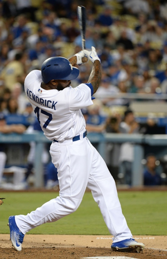 Howie Kendrick connects for a RBI single. Jill Weisleder/Dodgers