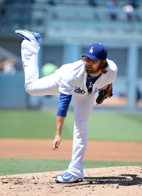 Pitcher Josh Fields delivers a pitch on the mound. Jill Weisleder/Dodgers
