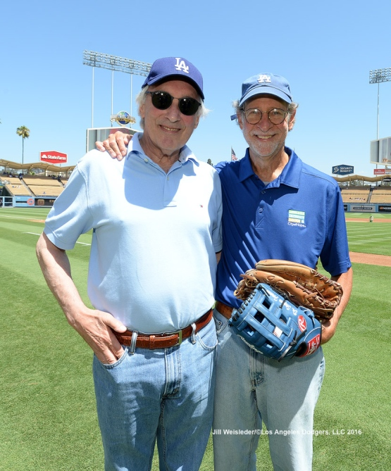Dr. Stephen Forman and Emmy-award winning television producer Steven Bochco pose for a photo on the field prior to the start of the game. Jill Weisleder/Dodgers