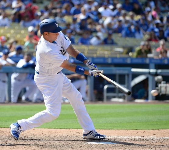 A.J. Ellis connects for a RBI single in the second inning. Jill Weisleder/Dodgers