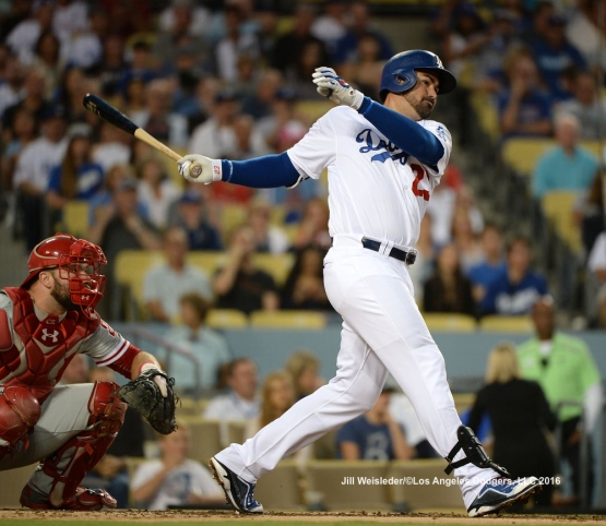 Adrian Gonzalez connects for a double. Jill Weisleder/Dodgers