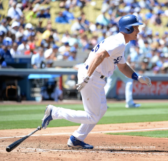 Chase Utley doubles down the right-field line for an RBI. Jill Weisleder/Dodgers