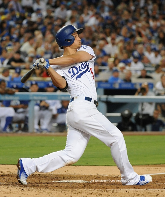 Corey Seager connects for a double during the game. Jill Weisleder/Dodgers